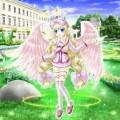 庭園に立つ天使少女