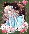 Alice et une roseraie